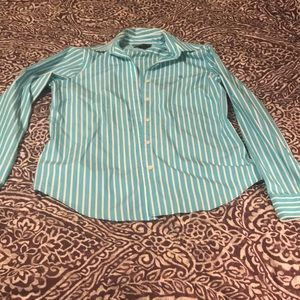 Ralph Lauren teal and white striped button down.